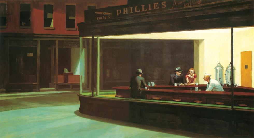 Edward Hopper, Oiseaux de nuit, 1942.  Huile sur toile, 84,1 x 152,4 cm.  The Art Institute of Chicago, Chicago.