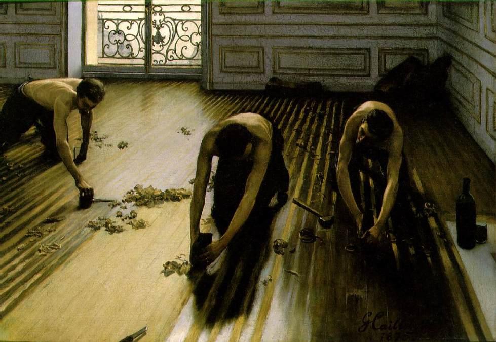 Gustave Caillebotte, Los acuchilladores de parqué, 1875. Óleo sobre lienzo, 102 x 146,5 cm. Musée d'Orsay, París.