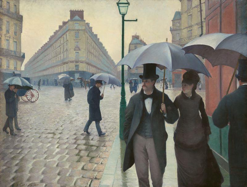 Gustave Caillebotte, Rue de Paris, Temps de Pluie, 1877. Huile sur toile, 212 cm x 276 cm. Art Institute of Chicago, Chicago.
