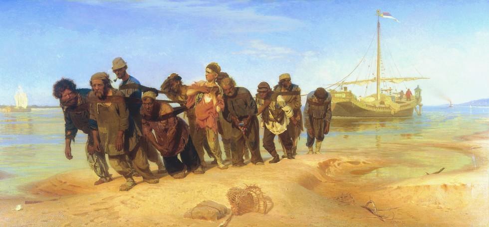 Les Bateliers de la Volga, 1870-1873. Huile sur toile, 131,5 × 281 cm. Musée d'État Russe, Saint-Pétersbourg.