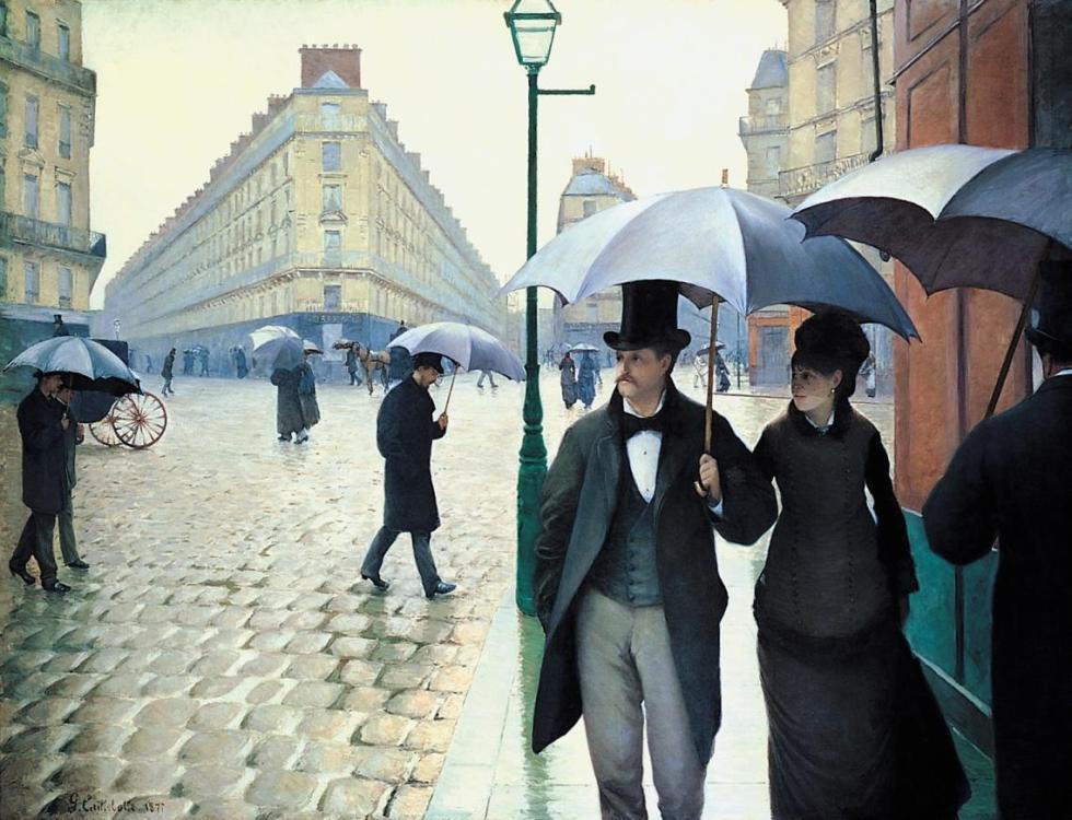 Rue de Paris, temps de pluie (Paris, an einem Regentag), 1877. Öl auf Leinwand, 212,2 x 276,2 cm. Art Institute, Chicago.