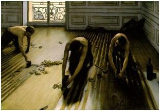 Gustave Caillebotte, Raboteurs de parquet, 1875. Huile sur toile, 102 x 147 cm. Musée d'Orsay, Paris.