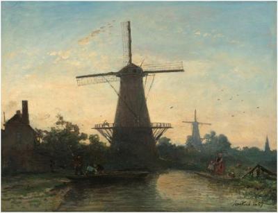 Johan Barthold Jongkind Windmühlen bei Rotterdam, 1857. Öl auf Leinwand, 42.5 x 55 cm.  Rijksmuseum, Amsterdam.
