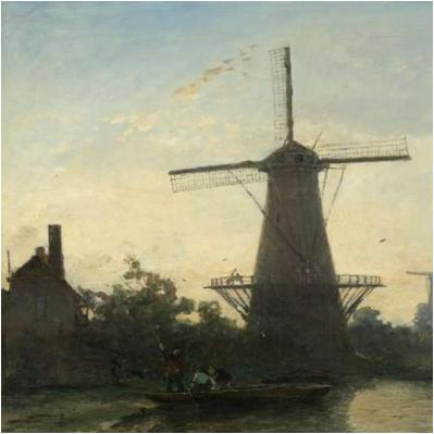 Johan Barthold Jongkind Windmills in Rotterdam, 1857. Oil on canvas, 42.5 x 55 cm.  Courtesy of the Rijksmuseum, Amsterdam.