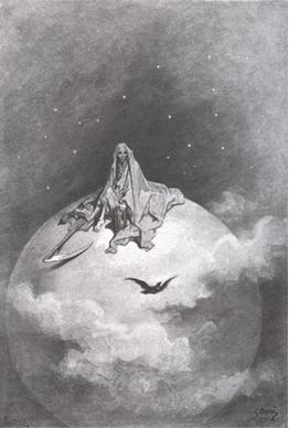 Gustave Doré, Ilustración 11,  realizada para El cuervo de Edgar Alan Poe (Doubting, dreaming dreams no mortal ever dared to dream before), edición de 1884.
