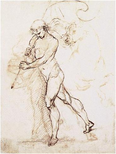 Raphael, Standard Bearer, 1505. Pen and ink, 25.7 x 21 cm. Galleria dell'Accademia, Venice.