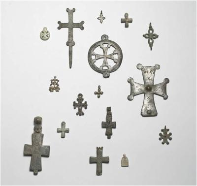 Crosses, Byzantine. Bronze and soapstone, heights 2.5–10.2 cm.  Courtesy of The Menil Collection, Houston. Photo: Paul Hester