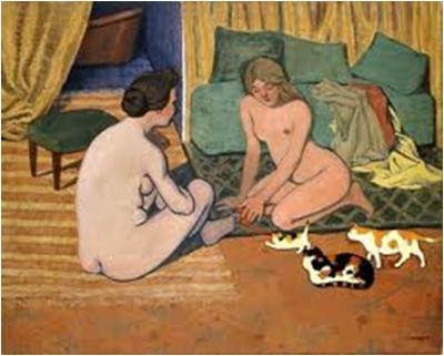 Félix Vallotton, Nude Women with Cats, c. 1897-1898. Oil on cardboard, 41 x 52 cm. Musée cantonal des Beaux-Arts, Lausanne