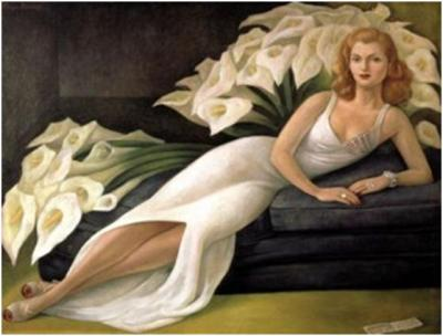 Diego Rivera (Mex¬i¬can, 1886 – 1957). Por¬trait of Mrs. Natasha Gel¬man, 1943. Oil on can¬vas, 45 ¼ x 60 ¼ inches. The Jacques and Natasha Gel¬man Col¬lec¬tion of 20th Cen¬tury Mex¬i¬can Art. The Vergel Foun¬da¬tion. Conaculta/INBA. © 2013 Banco de Méx¬ico Diego Rivera Frida Kahlo Muse¬ums Trust, Mex¬ico, D.F. /Artists Rights Soci¬ety (ARS), New York. Used by per¬mis¬sion from the Nelson-Atkins Museum of Art.