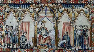 Alfonso X, ilustración de un manuscrito del siglo XIII.