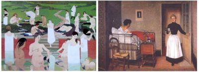 à gauche: Le Bain au soir d'été, 1892-93, Kunsthaus de Zurich droite: La Malade, 1892, Huile sur toile 74 x 100 cm, © Coll.Part.