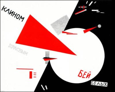 El Lissitzky, Battez les Blancs avec le triangle rouge, lithographie de 1920.