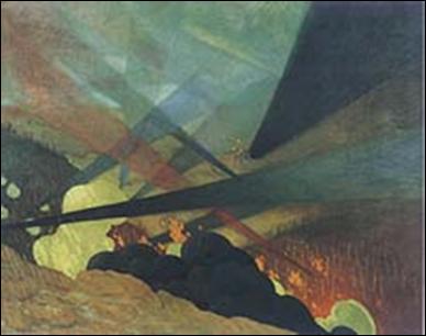 Verdun, tableau de guerre interprété, projections colorées noires, bleues et rouges, terrains dévastés, nuées de gaz, 1917 Huile sur toile, 114 x 146 cm. Musée de l'Armée, Paris  Agence photographique de la Réunion des musées nationaux.