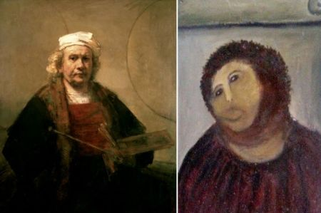 "The Great: Rembrandt, ""Self Portrait with Two Circles"", 1665. Oil on canvas. 114.3 cm × 94 cm. Kenwood House, London  The Grotesque: Ecce Homo, Elías García Martínez"