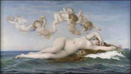 Alexandre Cabanel  Naissance de Vénus en 1863 Huile sur toile H. 1.3 ; L. 2.25  Musée d'Orsay, Paris, France  ©photo musée d'Orsay / rmn