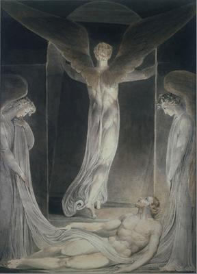 William Blake, La Resurrección: El ángel apartando la piedra del sepulcro, c. 1808