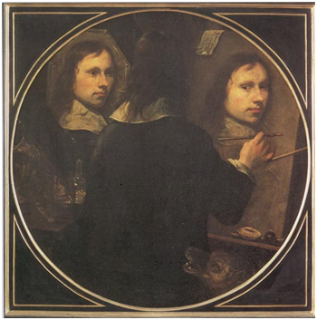 Johannes Gumpp, Selbstbildnis, 1646. Öl auf Leinwand, 88,5 x 89 cm. Florenz, Galleria degli Uffizi.