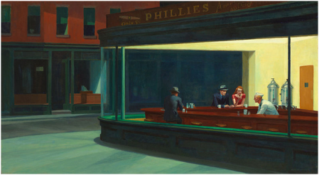 Nighthawks by Edward Hopper, 1942 Oil on canvas, 84.1 x 152.4 cm Art Institute of Chicago, Chicago