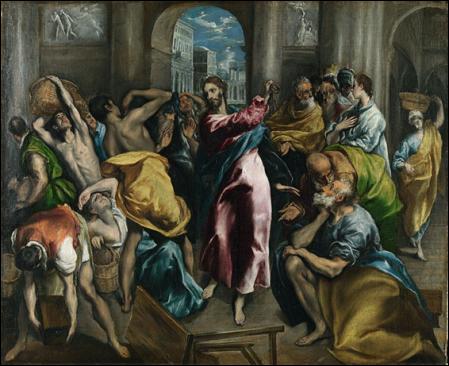 El Greco, La expulsión de los mercaderes del templo,hacia 1600. Óleo sobre lienzo, 106 cm × 130 cm. National Gallery, Londres