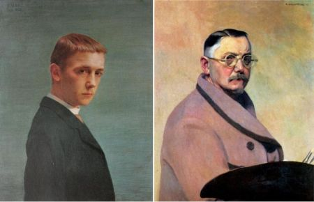 Right: Self Portrait, 1914. Oil on Canvas.