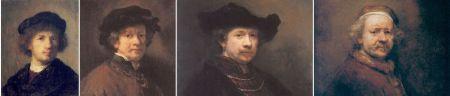 Left to Right: Rembrandt Van Rijn, Self Portrait, 1630. 15 x 12.2 cm. Nationalmuseum, Stockolm Self Portrait, 1654. Oil on canvas, 72 x 58.5 cm. Staaliche Kunstsammlungen Kassel, Schloss Wilhelmshohe, Kassel Self Portrait, 1642. Oil on wood, 69.9 x 58.4 cm. The Royal Collection, London Self Portrait at the Age of 63, 1669. 86 x 70.5 cm. National Gallery, London