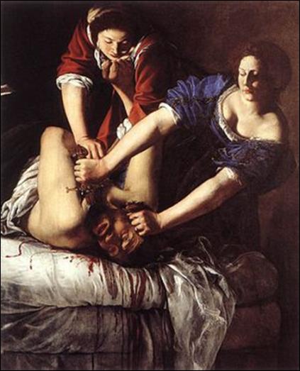 Artemisia Gentileschi. Judit decapitando a Holofernes, 1612-1613. Óleo sobre lienzo, 158,8 x 125,5 cm. Museo Capodimonte,Nápoles.