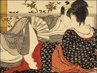 Kitagawa Utamaro, Amantes en una habitación de la sala de té, de la serie Poema de la almohada («Uta makura»), c. 1788. Xilografía, 72 x 49 cm. The British Museum, Londres.