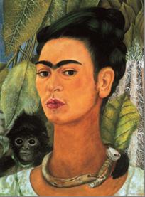 Frida Kahlo, Autoritratto con scimmia, 1938. Olio su masonite, 49,5 x 39,4 cm. Albright-Knox Art Gallery, Buffalo, New York.