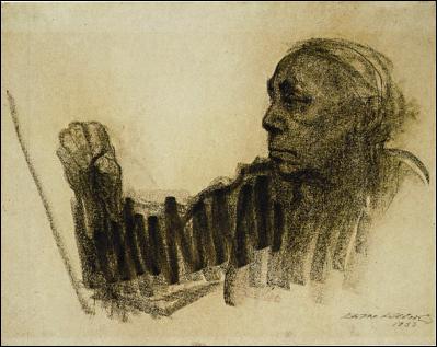 Käthe Kollwitz, Autorretrato dibujando, 1933.