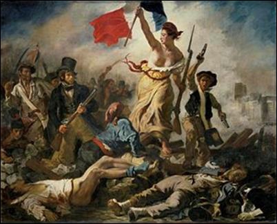 Die Freiheit führt das Volk, 1830. Öl auf Leinwand, 260 x 325 cm. Louvre, Paris.