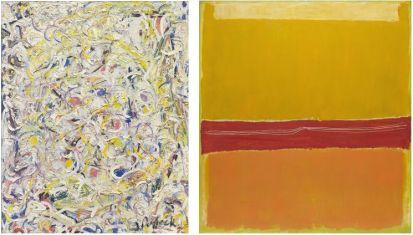 Gauche: Jackson Pollock, Shimmering Substance, 1946, 76.3 x 61.6 cm, Museum of Modern Art, New-York. Droite: Mark Rothko, No. 5/No. 22, 1949, 297 x 272 cm, Museum of Modern Art, New-York.