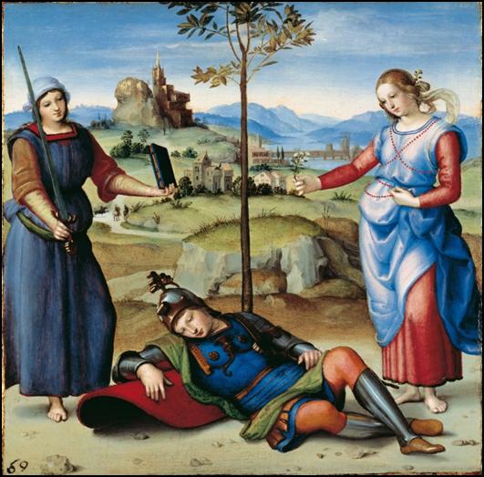 Rafael, El sueño del caballero, 1504. Óleo sobre álamo, 17.1 x 17.3 cm. The National Gallery, Londres.