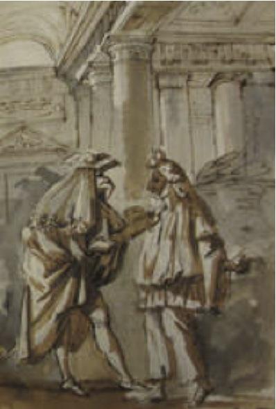 Antonio Primo, Escena de la Commedia dell'Arte, Cuaderno italiano, p. 233, Hacia 1761 – 1764. Meadows Museum, Southern Methodist University, Dallas.