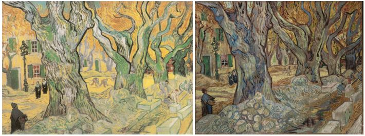 Left: The Road Menders, Saint-Rémy, November 1889. Oil on canvas, 71 x 93 cm. The Philips Collection, Washington, D.C. Right: The Large Plane Trees (Road Menders at Saint-Rémy), 1889. Oil on fabric, 73.4 x 91.8 cm. The Cleveland Museum of Art, Cleveland. Source: http://www.clevelandart.org