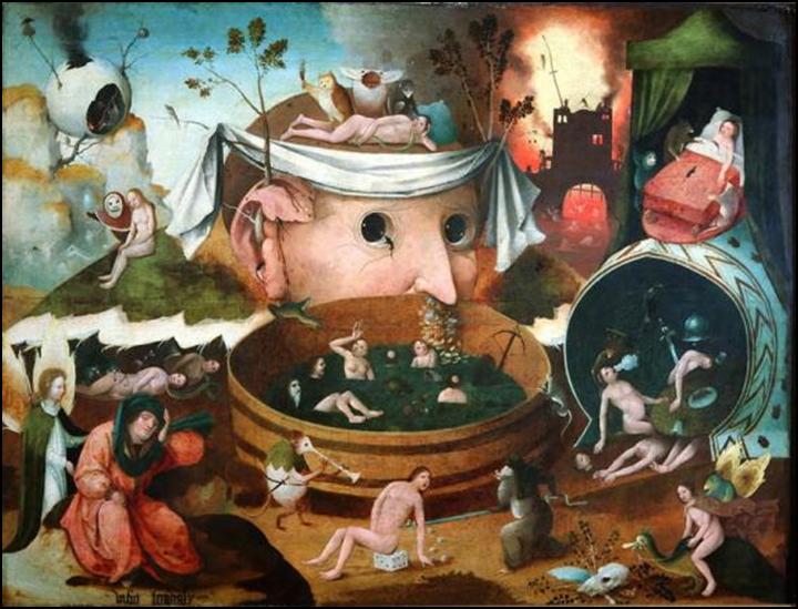 École de Jérôme Bosch, La Vision de Tondal, 1520-1530. Huile sur bois, 54 x 72 cm. Madrid, Fundación Lázaro Galdiano.  © Museo Lázaro Galdiano. Madrid