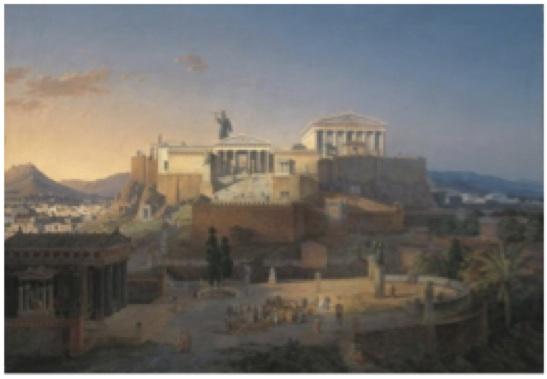 Leo von Klenze, Ideale Ansicht der Akropolis und des Areopag in Athen, 1846. Öl auf Leinwand, 102,8 x 147,7 cm. Neue Pinakothek, München.