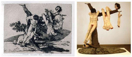 Izquierda: Goya, Grande hazaña, con muertos, 1810-1814; derecha: Jake y Dinos Chapman, Grandes hazañas contra los muertos, 1994.