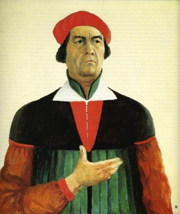 Kasimir Malewitsch: Selbstporträt, 1933. Öl auf Leinwand, 73 x 66 cm. Russisches Museum, Sankt Petersburg.