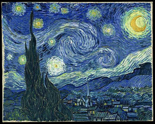 Vincent van Gogh, Notte stellata, giugno 1889. Olio su tela, 73,7 x 92,1 cm. The Museum of Modern Art, New York.