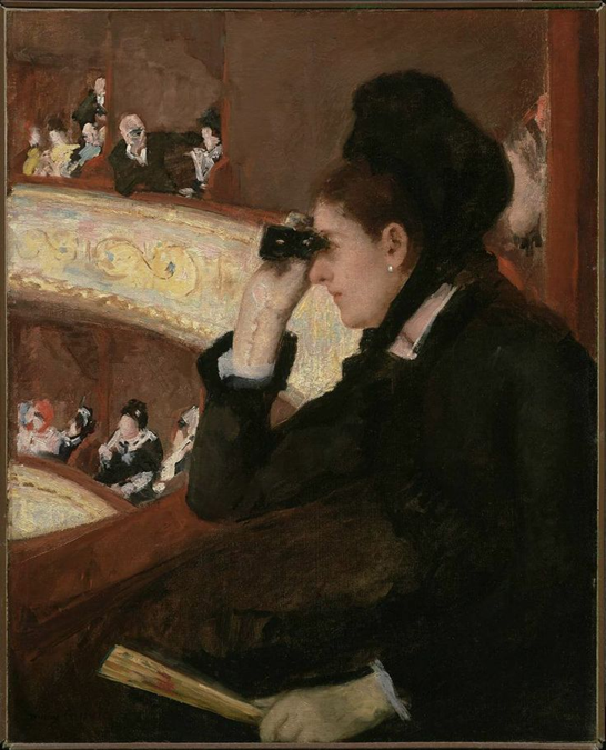 Mary Cassatt, In the Loge, 1878. Oil on canvas, 81.3 x 66 cm. Museum of Fine Arts, Boston.