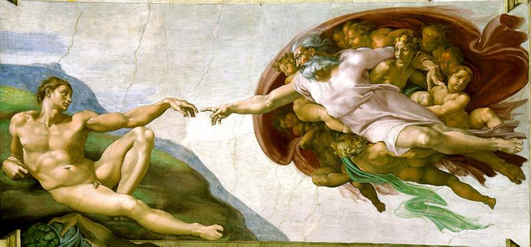 Michelangelo: Die Erschaffung Adams, 1508-1512. Fresko, 480 x 230 cm. Sixtinische Kapelle, Vatikanstadt.