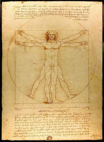 Leonardo da Vinci: Der vitruvianische Mensch, Proportionsstudie nach Vitruv, 1492. Feder und Tusche auf Papier. Galleria dell'Accademia, Venedig.