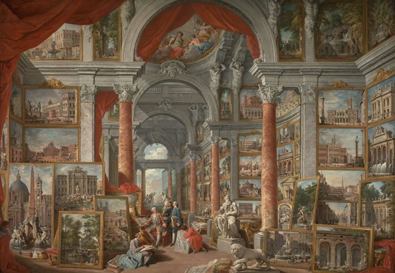 Giovanni Paolo Pannini, Picture Gallery with Views of Modern Rome, 1757. Oil on canvas, 170.2 x 244.5 cm. Museum of Fine Arts, Boston.