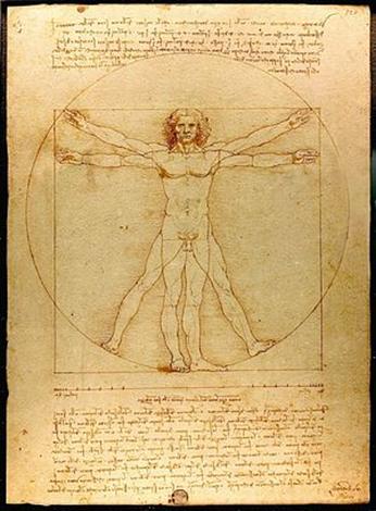 Leonardo da Vinci, Vitruvianischer Mensch, um 1490. Feder und Tusche mit Lavierung über Silberstift auf Papier, 34,4 cm × 25,5 cm. Galleria dell'Accademia, Venedig.