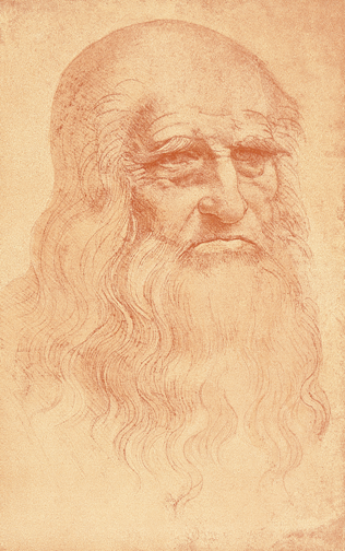 Leonardo da Vinci, Self-Portrait, c. 1512. Red chalk on paper, 33.3 x 21.3 cm. Biblioteca Reale, Turin.