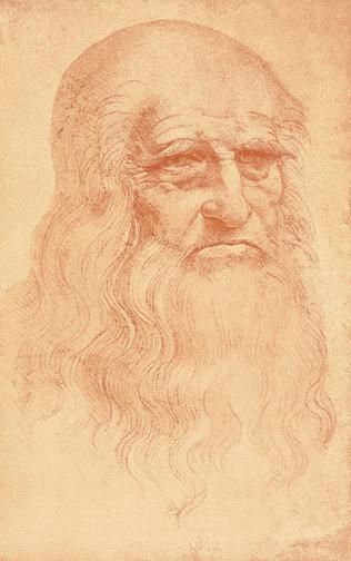 Leonardo da Vinci, Self-Portrait, c. 1512. Red chalk on paper, 33.3 x 21.3 cm. Biblioteca Reale, Turin.