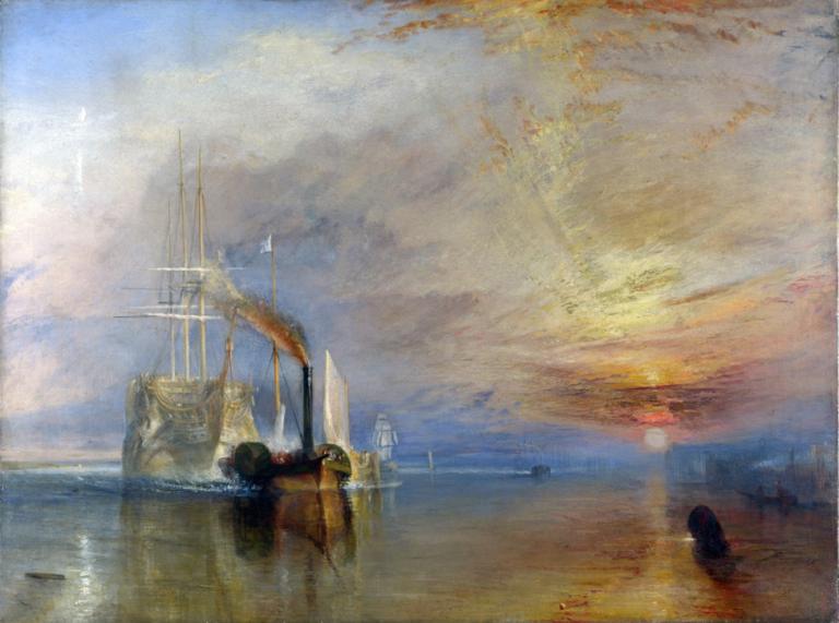Joseph Mallord William Turner, El «Temerario» remolcado a dique seco, 1838. Óleo sobre lienzo, 91 × 122 cm. National Gallery de Londres, Londres.