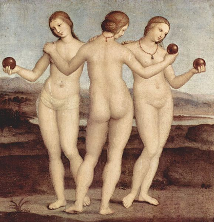 Raffael: Die drei Grazien, um 1503-1505. Öl auf Holz, 17,1 x 17,1 cm. Musée Condé, Chantilly.