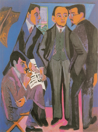 Ernst Ludwig Kirchner, A Group of Artists: Mueller, Kirchner, Heckel, Schmidt-Rottluff, c. 1926-1927. Oil on canvas, 168 x 126 cm. Museum Ludwig, Cologne.