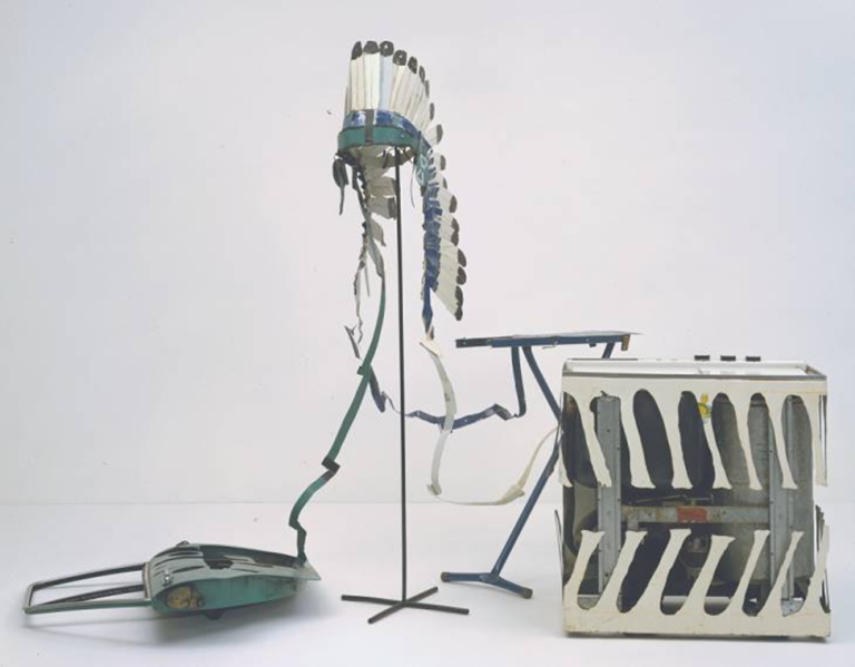 Bill Woodrow, Car Door, ironing Board and Twin-Tub with North American Indian Head-Dress, 1981. Mixed media, 186.5 x 283 x 157 cm. Tate Collection, London. Can you guess what the Keyword associated with these objects is? Identity? Integration? Modernization?)
